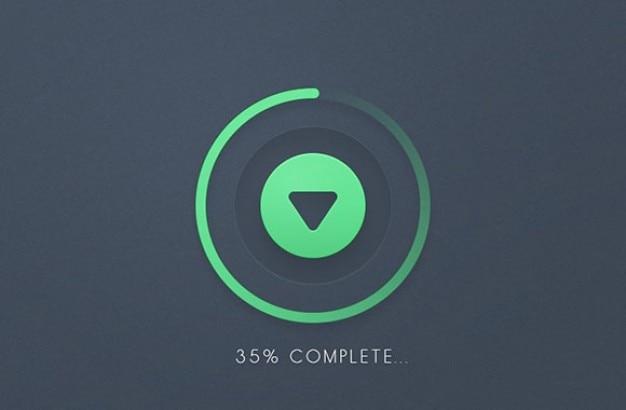 Прогресс круглой кнопки загрузки psd
