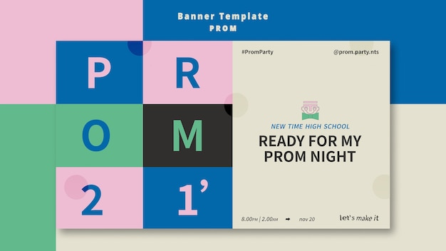 Prom party banner template