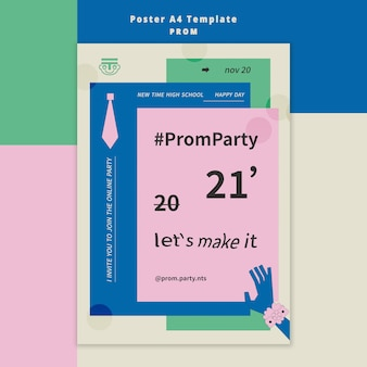 Prom party poster template