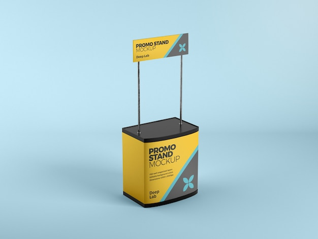 Promo stand mockup with editable color psd
