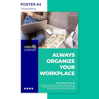 Promoting telework poster template