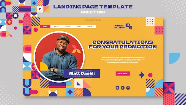 Promotion congratulations landing page