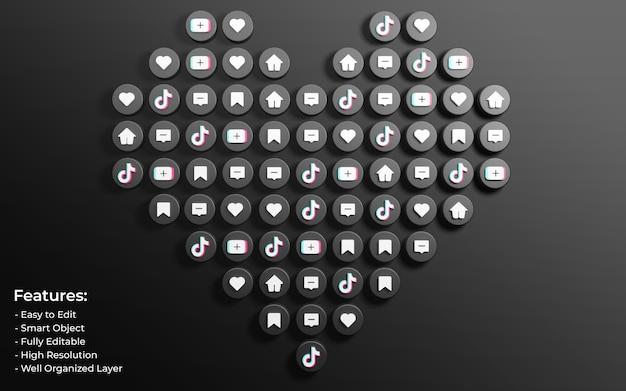 사랑과 댓글 아이콘과 같은 3d로 둘러싸인 tiktok 게시물 프로모션