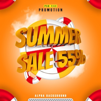 Promotion summer sale 55 gold in 3d rendering isolated