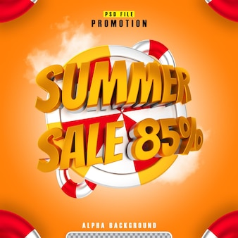 Promotion summer sale 85 gold in 3d rendering isolated