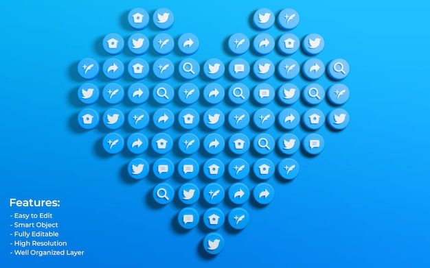 Promotion for twitter post surrounded by 3d like love and comment icon
