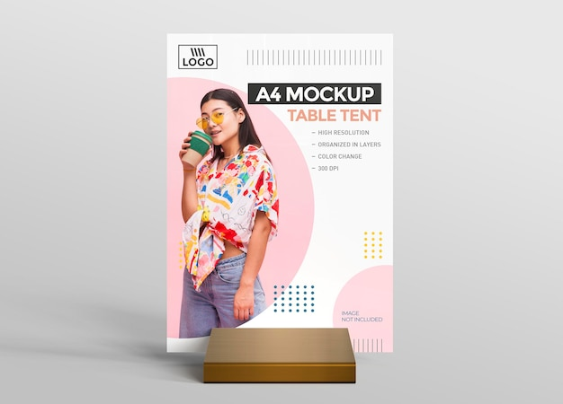Promotional 3d table tent mockup for a4 display