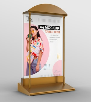 Promotional 3d table tent mockup template for a4 display