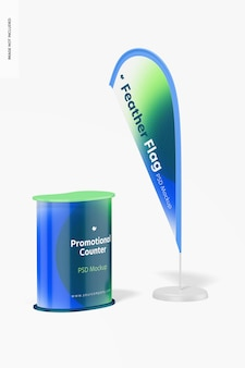 Promotional counter with feather flag mockup
