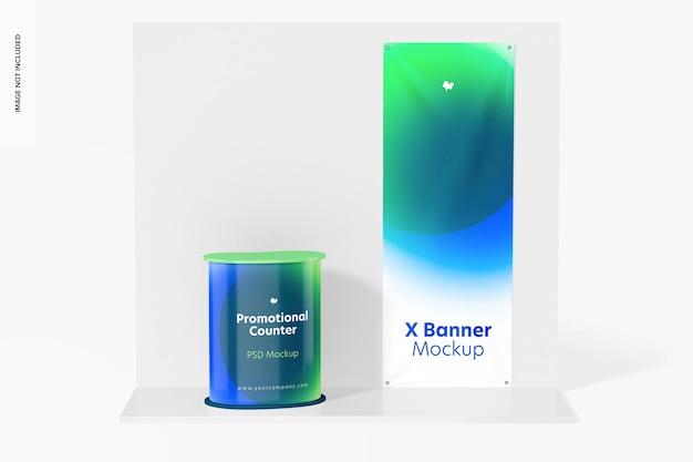 Xバナーモックアップ付きプロモーションカウンター