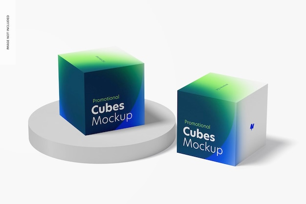 Promotional cubes display mockup, perspective