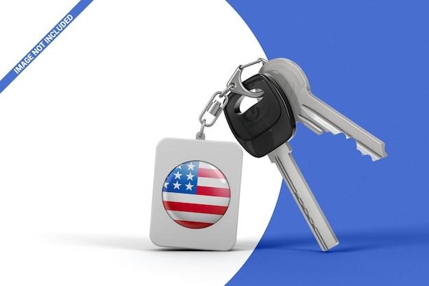 Promotional rectangular rounded keychain with keys mockup.