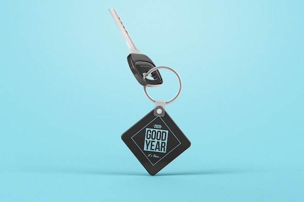 Promotional rhombus gravity key with key chain mockup