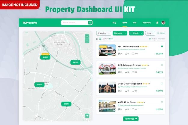 Комплект пользовательского интерфейса панели поиска недвижимости