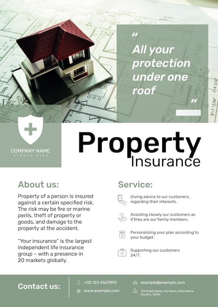 Property insurance poster template psd with editable text