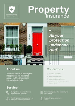 Psd шаблон плаката по страхованию имущества с редактируемым текстом