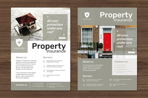 Property insurance template psd with editable text set