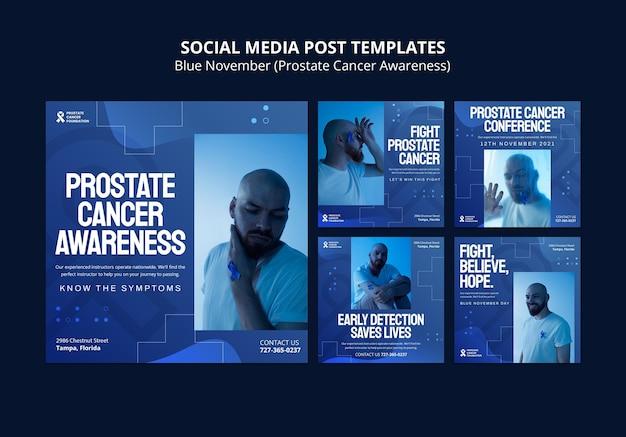 Prostate cancer day social media posts in blue tones