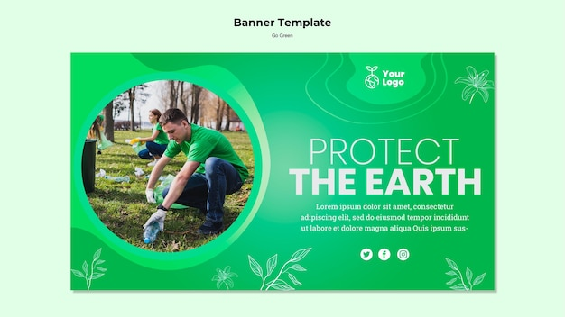 Protect the earth banner template