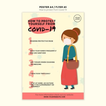 Protect yourself and woman poster template