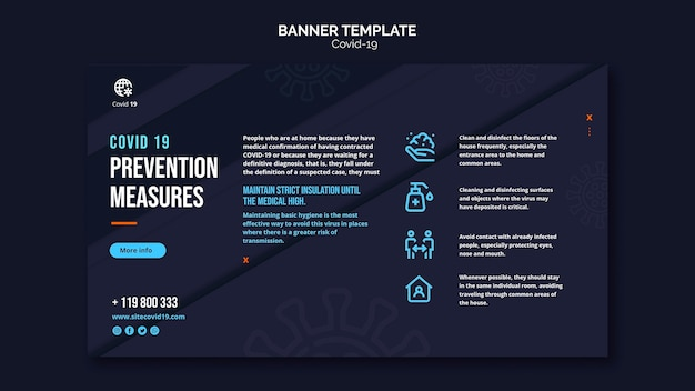 Protection and measures for covid-19 banner template