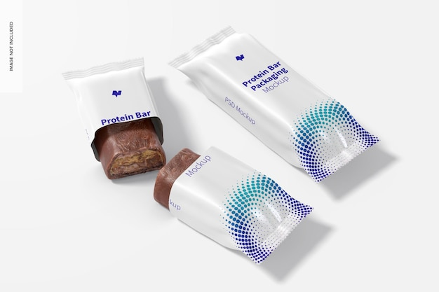 Protein bars packaging psd mockup, perspective