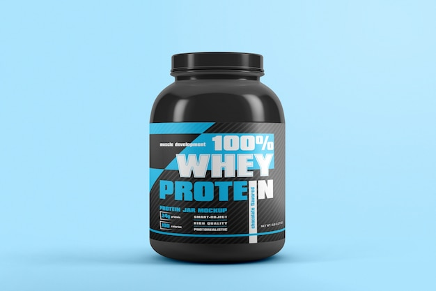 Protein jar with label mockup
