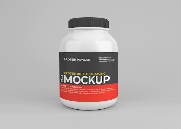 Protein powder nutrition supplement jar mockup