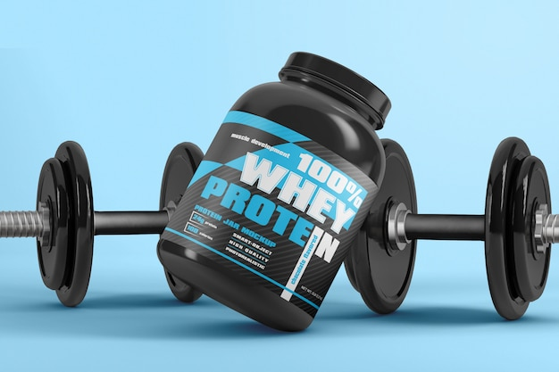 Protein powder supplement packaging with dumbbell mockup