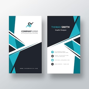 Psd abstract blue vertical business card
