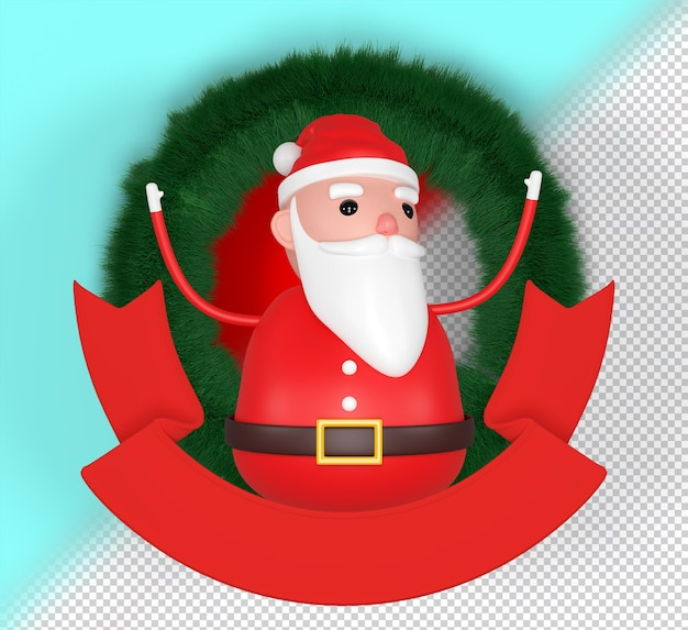 Psd cheerful 3d model of santa claus, happy christmas icon, funny cartoon christmas grandpa, decorations. 3d rendering