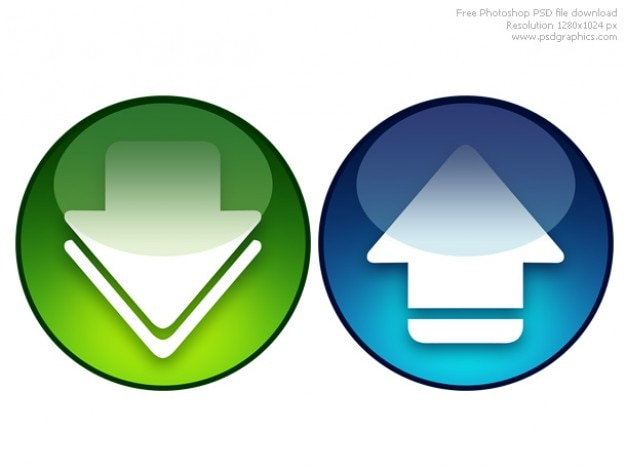 Psd download and upload icons