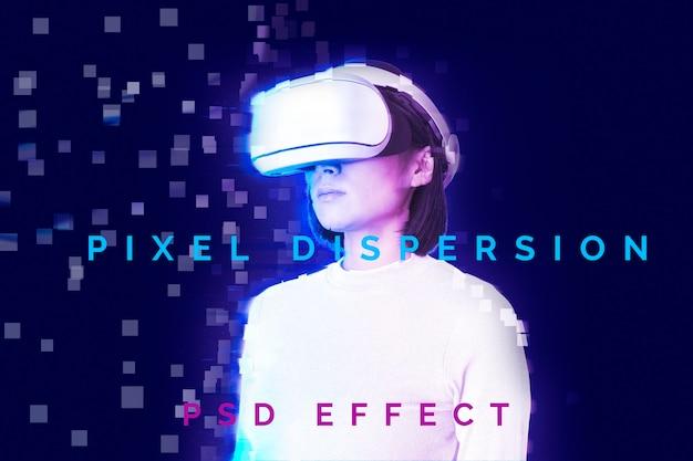 Componente aggiuntivo di photoshop con dispersione di pixel con effetto psd