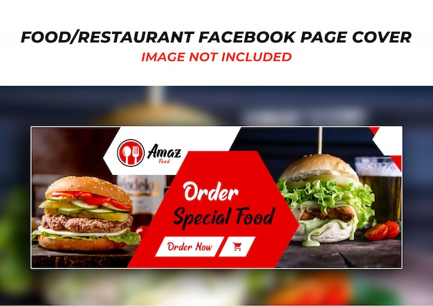 Psd шаблон оформления обложки для ресторана facebook