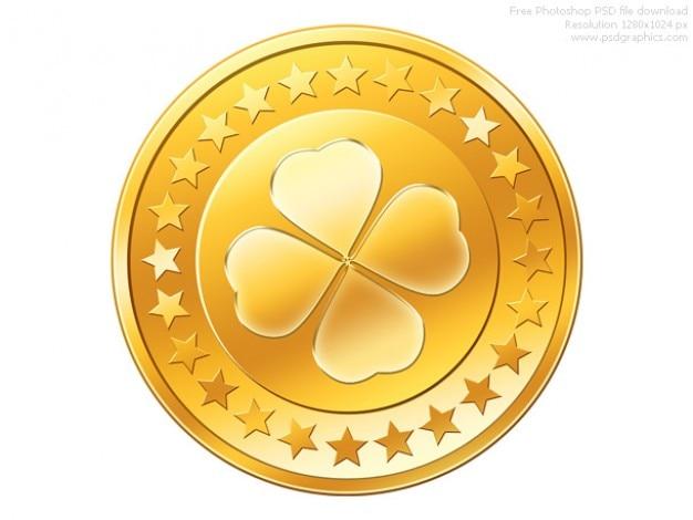 Psd золотая монета значок