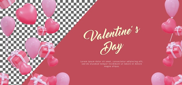 Psd happy valentine with balloons with 3d rendering