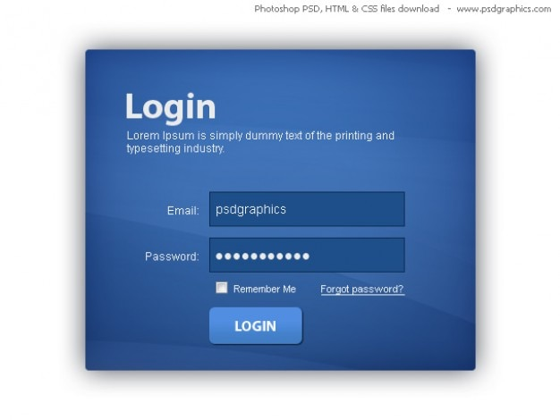 青色のログインボックス、psdテンプレートを使用してhtmlとcss