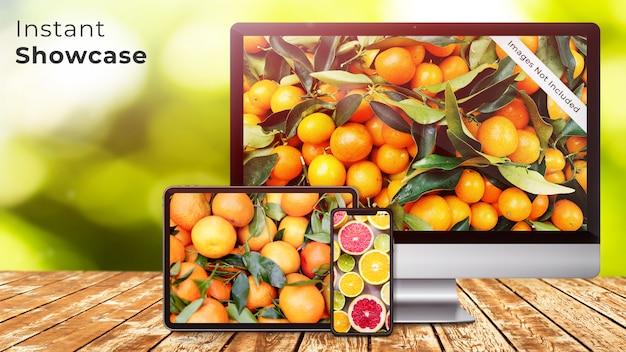 ピクセル完璧なアップルデバイスは、緑、自然、有機ボケデザインpsdモックアップと素朴な木製のテーブルにiphone x、ipadとタブレットとimacスクリーンのモックアップ