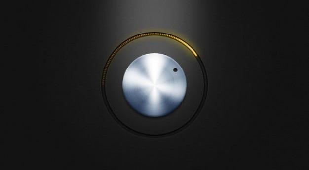 Psdファイル黄色のledが付いている金属ボタン
