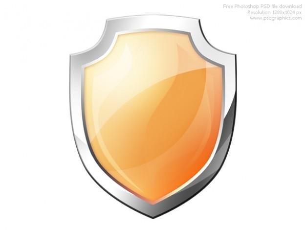 Psd orange shield icon
