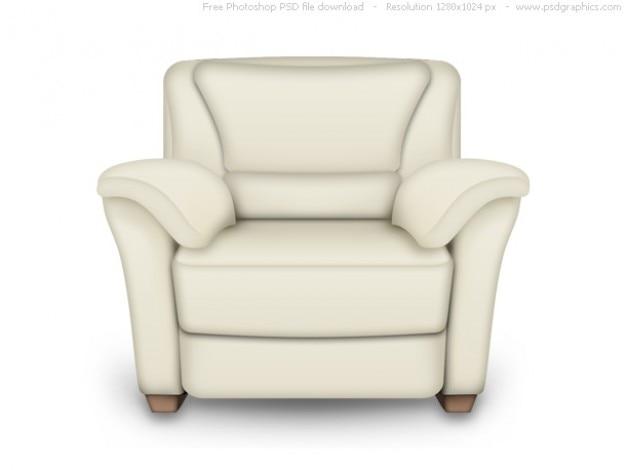 Psd красного и белого кожаного кресла, интерьер икона