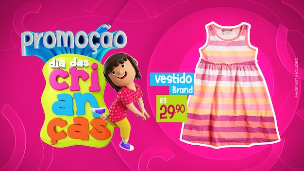 Psd template for social media instagram child playing childrens day brazil promotion