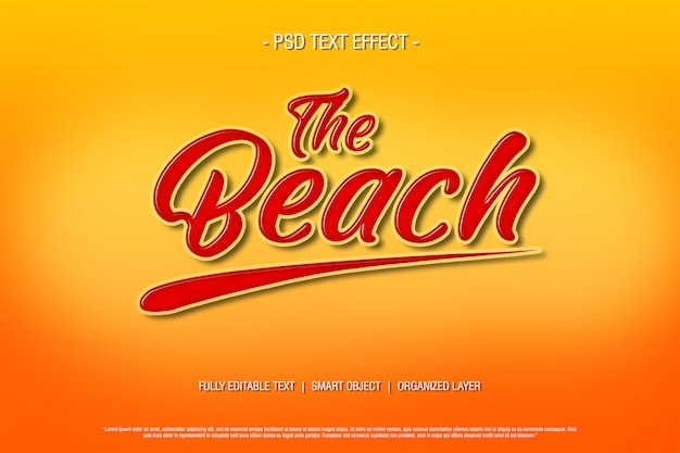 Psd text effect the beach