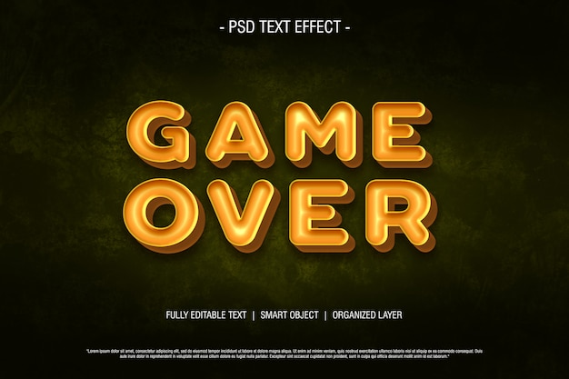 Psd text effect game over