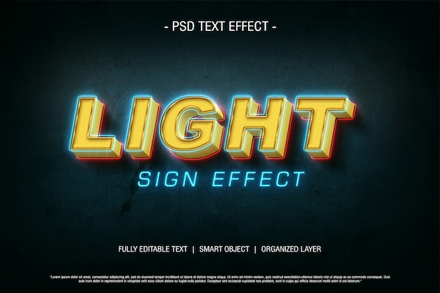 Psd text effect light sign