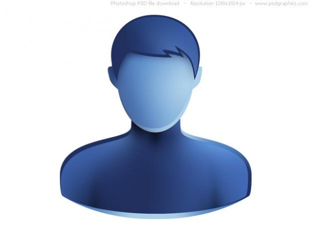 Psd универсальный синий значок веб-пользователей