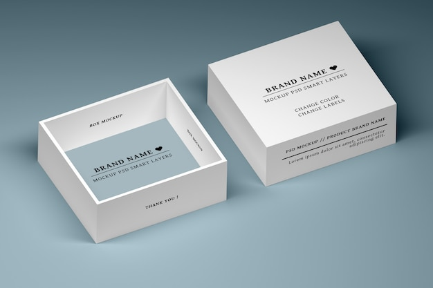 空白のラベルが付いた白い正方形のボックスの編集可能なpsdモックアップ