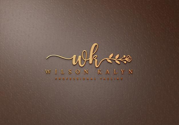 Роскошный золотой логотип макет на коже премиум psd