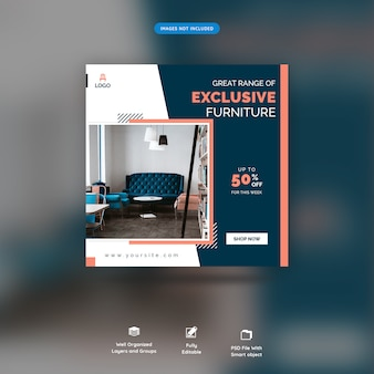 Мебель социальные медиа веб баннеры премиум psd
