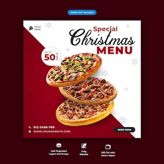 クリスマスフードメニューソーシャルメディアバナーテンプレートプレミアムpsd